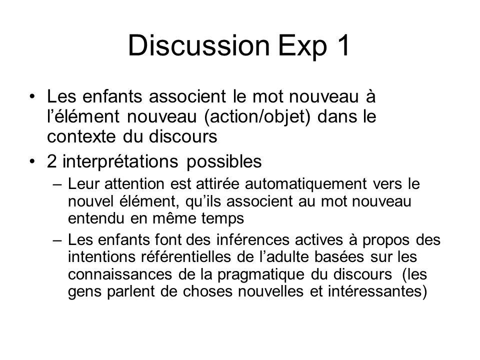Discussion Exp 1 Les enfants associent le mot nouveau à lélément nouveau (action/objet) dans le contexte du discours 2 interprétations possibles –Leur