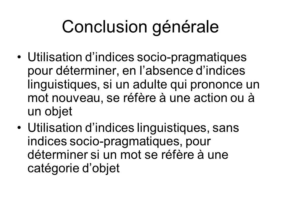 Conclusion générale Utilisation dindices socio-pragmatiques pour déterminer, en labsence dindices linguistiques, si un adulte qui prononce un mot nouv