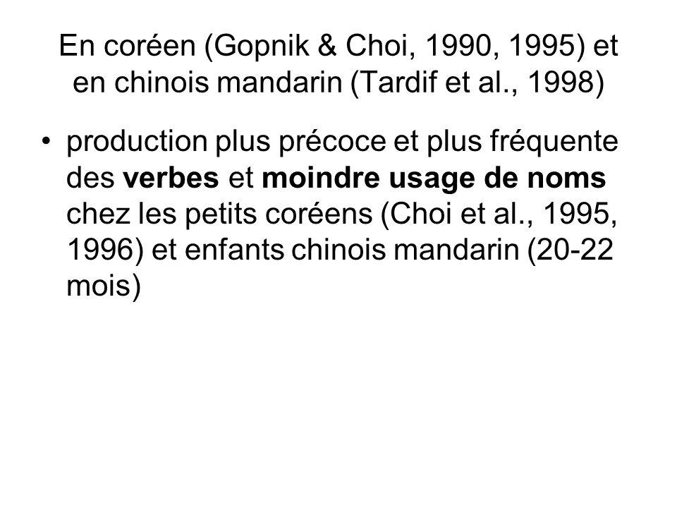 En coréen (Gopnik & Choi, 1990, 1995) et en chinois mandarin (Tardif et al., 1998) production plus précoce et plus fréquente des verbes et moindre usa