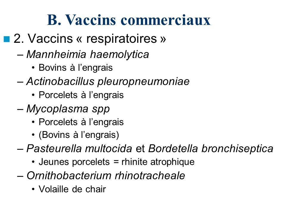 2. Vaccins « respiratoires » –Mannheimia haemolytica Bovins à lengrais –Actinobacillus pleuropneumoniae Porcelets à lengrais –Mycoplasma spp Porcelets
