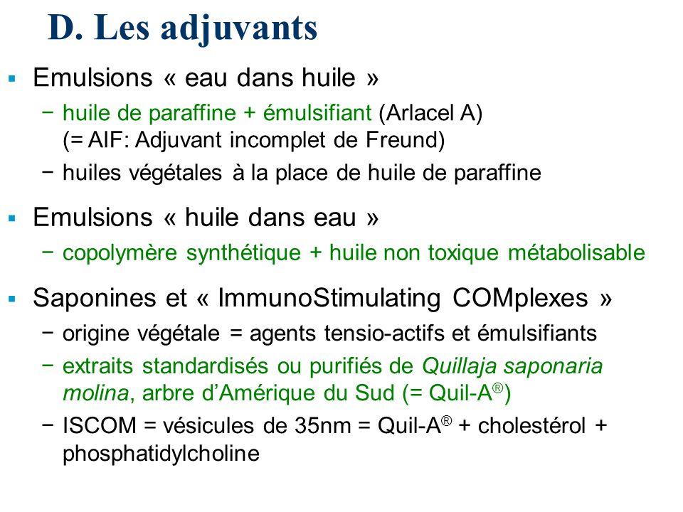 D. Les adjuvants Emulsions « eau dans huile » huile de paraffine + émulsifiant (Arlacel A) (= AIF: Adjuvant incomplet de Freund) huiles végétales à la