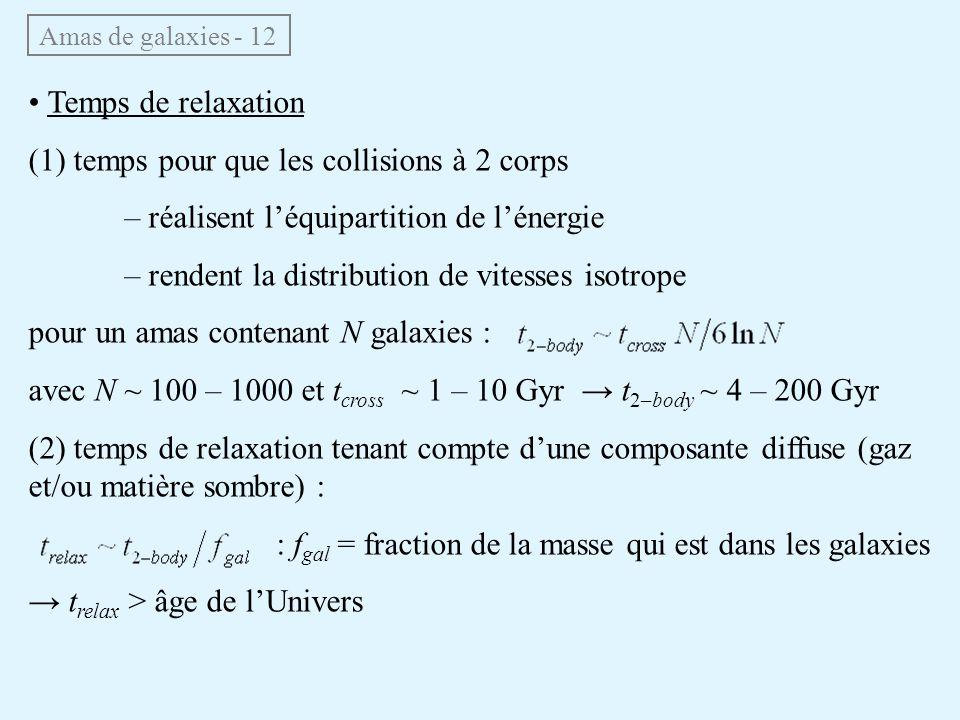 Amas de galaxies - 12 Temps de relaxation (1) temps pour que les collisions à 2 corps – réalisent léquipartition de lénergie – rendent la distribution