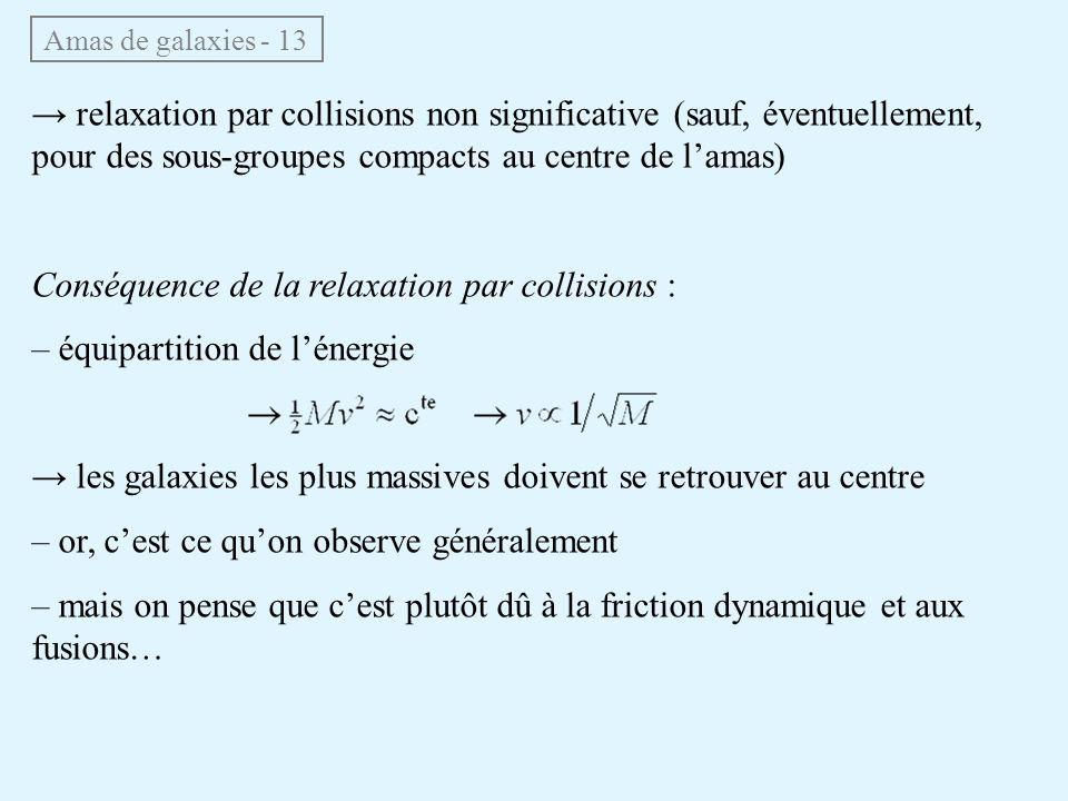 Amas de galaxies - 13 relaxation par collisions non significative (sauf, éventuellement, pour des sous-groupes compacts au centre de lamas) Conséquenc