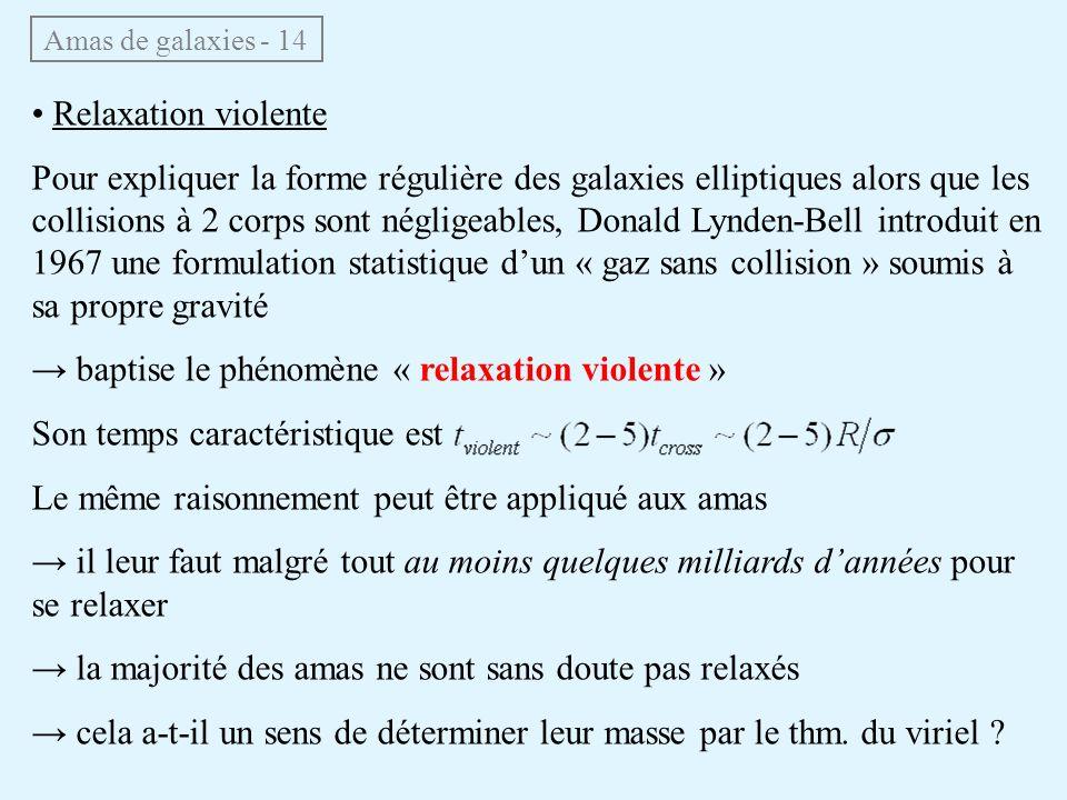 Amas de galaxies - 14 Relaxation violente Pour expliquer la forme régulière des galaxies elliptiques alors que les collisions à 2 corps sont négligeab