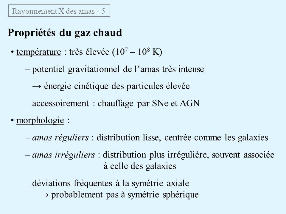Propriétés du gaz chaud Rayonnement X des amas - 5 température : très élevée (10 7 – 10 8 K) – potentiel gravitationnel de lamas très intense énergie