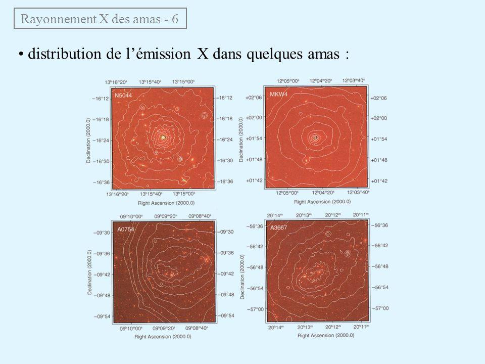 Rayonnement X des amas - 6 distribution de lémission X dans quelques amas :
