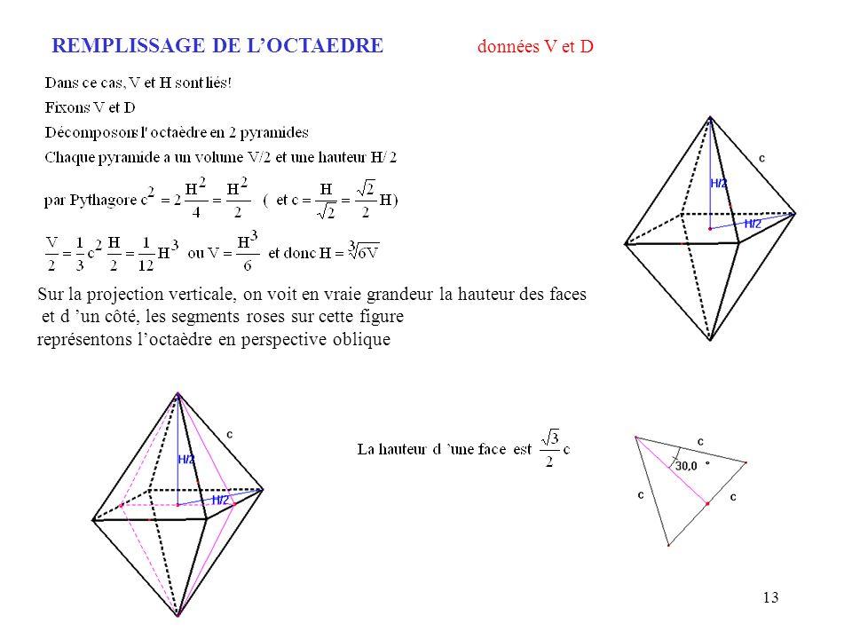 13 REMPLISSAGE DE LOCTAEDRE données V et D Sur la projection verticale, on voit en vraie grandeur la hauteur des faces et d un côté, les segments rose
