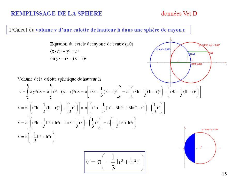 18 REMPLISSAGE DE LA SPHERE données Vet D 1/Calcul du volume v dune calotte de hauteur h dans une sphère de rayon r