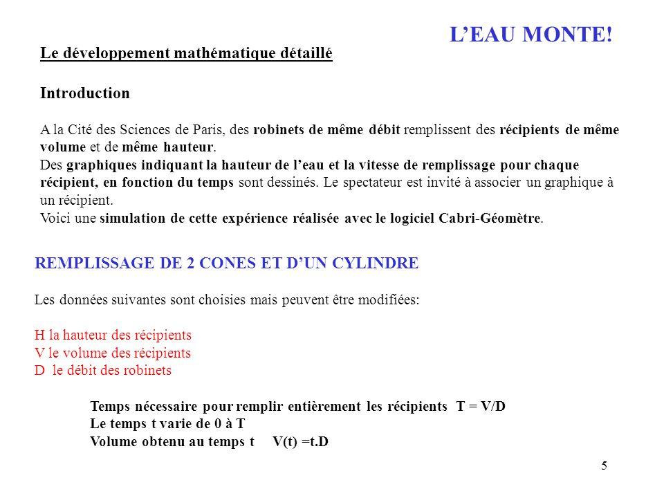 5 LEAU MONTE! Le développement mathématique détaillé Introduction A la Cité des Sciences de Paris, des robinets de même débit remplissent des récipien