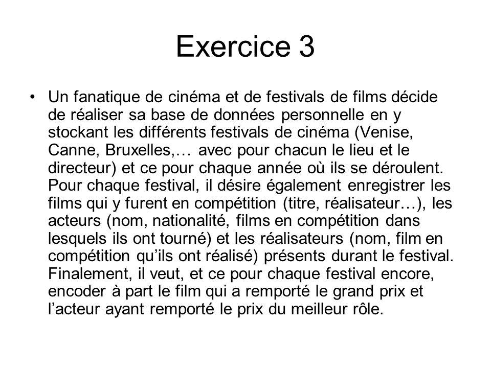 Exercice 3 Un fanatique de cinéma et de festivals de films décide de réaliser sa base de données personnelle en y stockant les différents festivals de