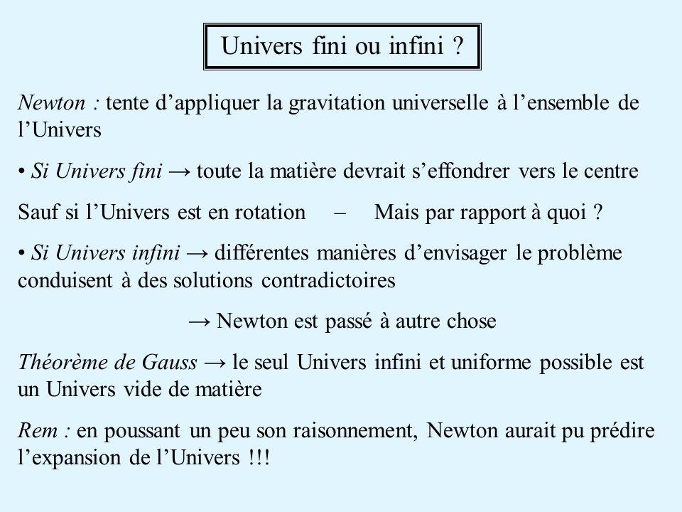 Newton : tente dappliquer la gravitation universelle à lensemble de lUnivers Si Univers fini toute la matière devrait seffondrer vers le centre Sauf si lUnivers est en rotation – Mais par rapport à quoi .