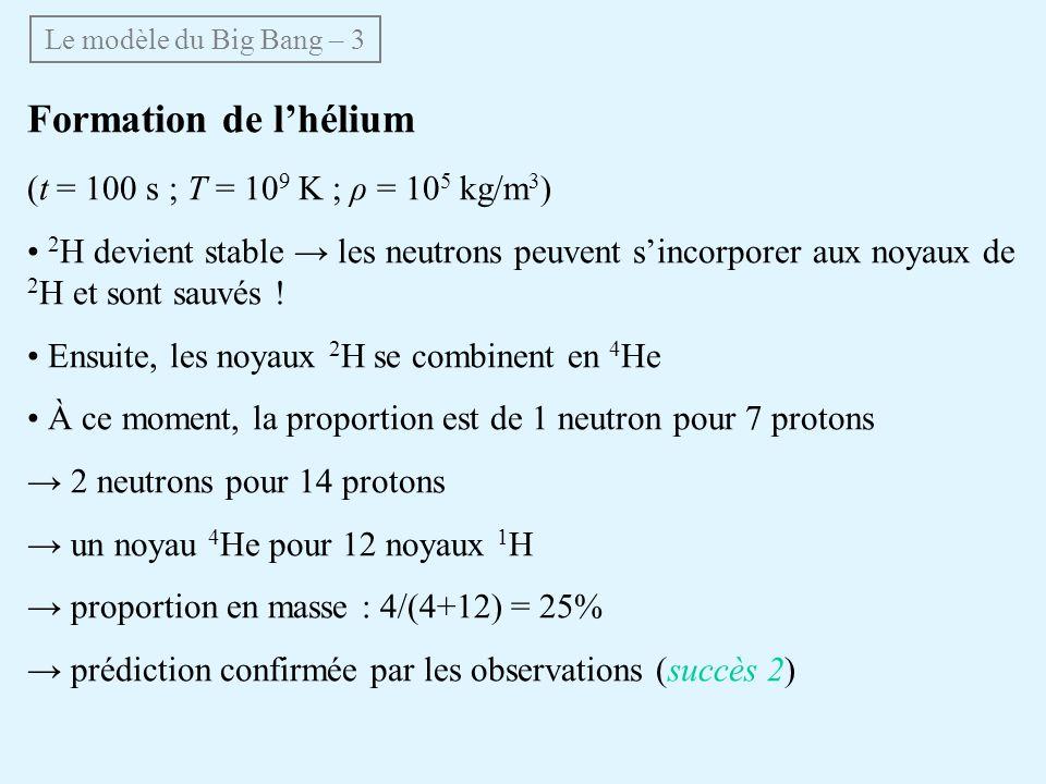 Formation de lhélium (t = 100 s ; T = 10 9 K ; ρ = 10 5 kg/m 3 ) 2 H devient stable les neutrons peuvent sincorporer aux noyaux de 2 H et sont sauvés .