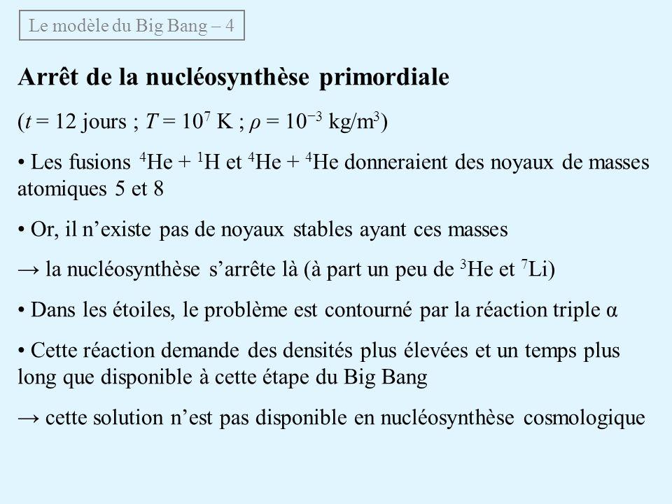 Arrêt de la nucléosynthèse primordiale (t = 12 jours ; T = 10 7 K ; ρ = 10 3 kg/m 3 ) Les fusions 4 He + 1 H et 4 He + 4 He donneraient des noyaux de masses atomiques 5 et 8 Or, il nexiste pas de noyaux stables ayant ces masses la nucléosynthèse sarrête là (à part un peu de 3 He et 7 Li) Dans les étoiles, le problème est contourné par la réaction triple α Cette réaction demande des densités plus élevées et un temps plus long que disponible à cette étape du Big Bang cette solution nest pas disponible en nucléosynthèse cosmologique Le modèle du Big Bang – 4