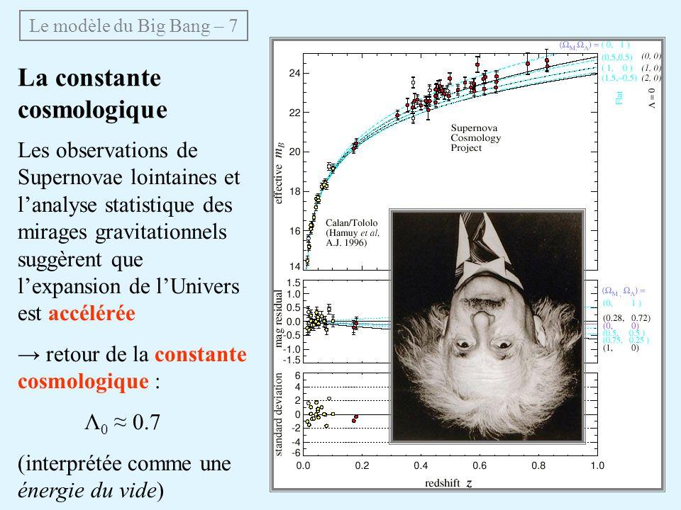 La constante cosmologique Les observations de Supernovae lointaines et lanalyse statistique des mirages gravitationnels suggèrent que lexpansion de lUnivers est accélérée retour de la constante cosmologique : Λ 0 0.7 (interprétée comme une énergie du vide) Le modèle du Big Bang – 7