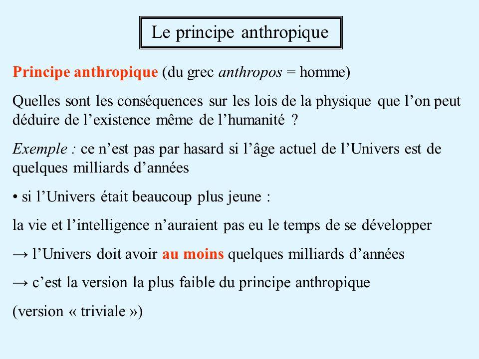 Principe anthropique (du grec anthropos = homme) Quelles sont les conséquences sur les lois de la physique que lon peut déduire de lexistence même de lhumanité .
