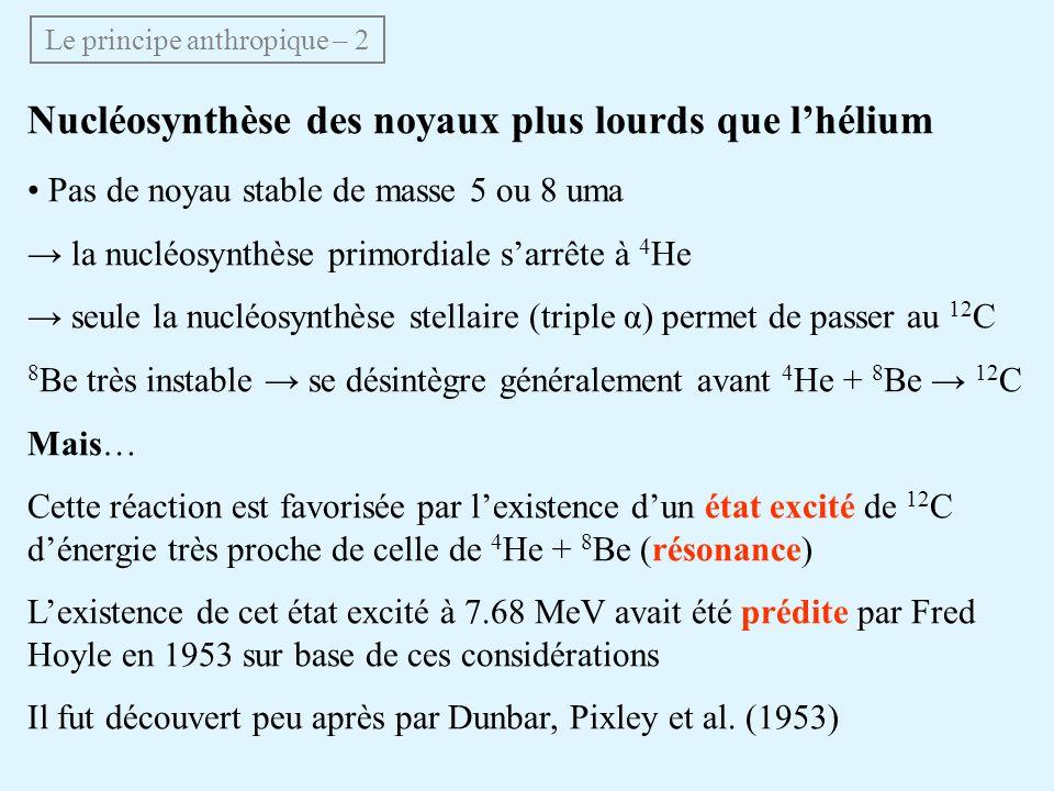 Nucléosynthèse des noyaux plus lourds que lhélium Pas de noyau stable de masse 5 ou 8 uma la nucléosynthèse primordiale sarrête à 4 He seule la nucléo