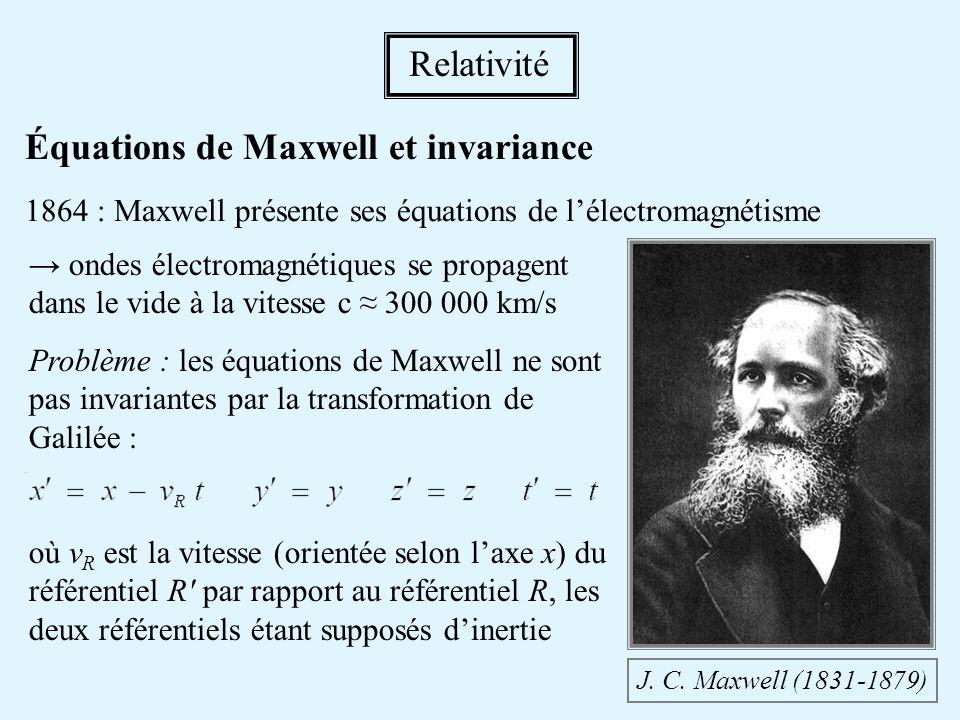 Équations de Maxwell et invariance 1864 : Maxwell présente ses équations de lélectromagnétisme J. C. Maxwell (1831-1879) ondes électromagnétiques se p
