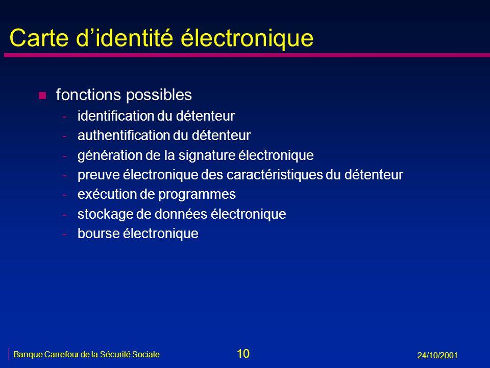 10 Banque Carrefour de la Sécurité Sociale 24/10/2001 Carte didentité électronique n fonctions possibles -identification du détenteur -authentificatio