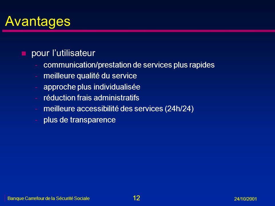 12 Banque Carrefour de la Sécurité Sociale 24/10/2001 Avantages n pour lutilisateur -communication/prestation de services plus rapides -meilleure qual