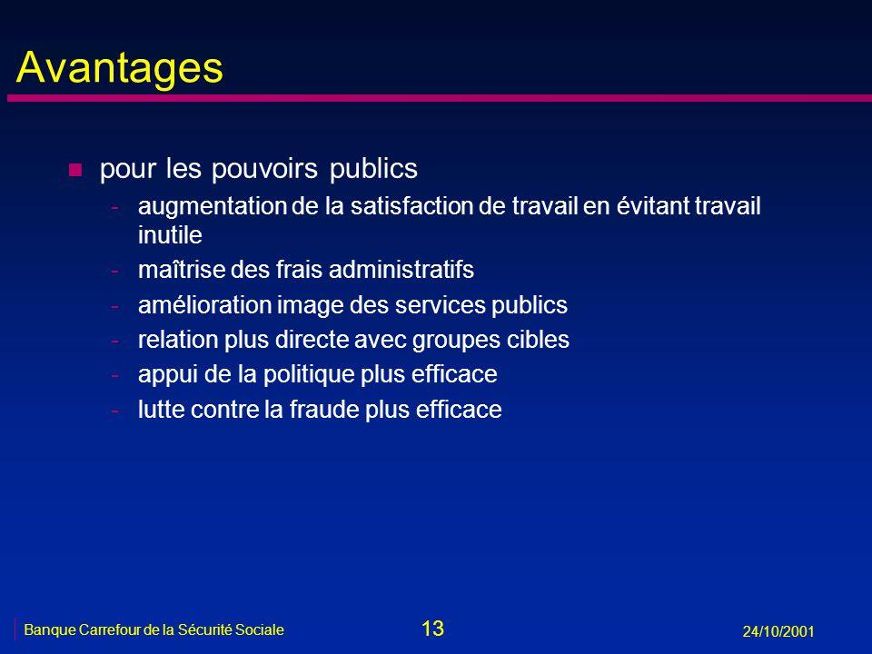 13 Banque Carrefour de la Sécurité Sociale 24/10/2001 Avantages n pour les pouvoirs publics -augmentation de la satisfaction de travail en évitant tra