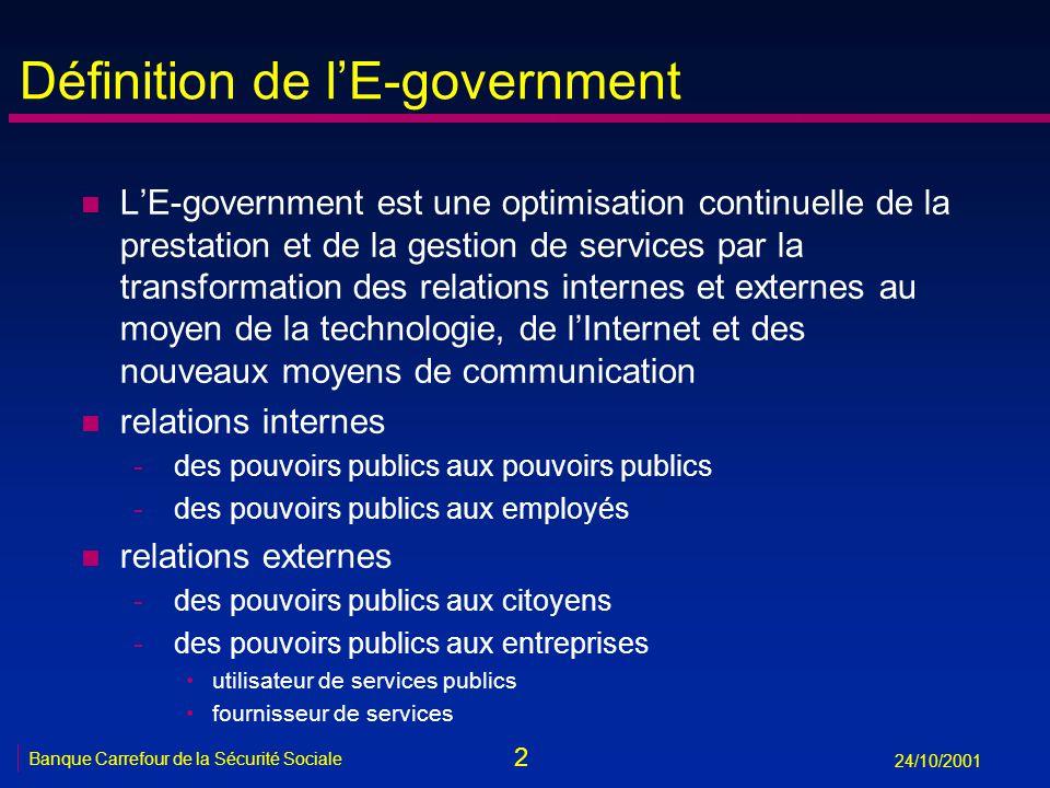 2 24/10/2001 Définition de lE-government n LE-government est une optimisation continuelle de la prestation et de la gestion de services par la transfo