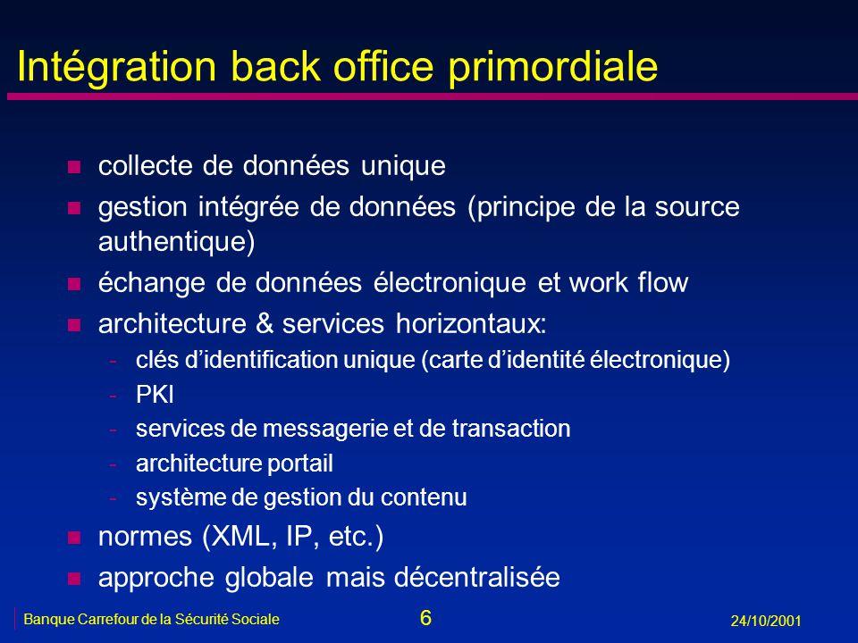 6 Banque Carrefour de la Sécurité Sociale 24/10/2001 Intégration back office primordiale n collecte de données unique n gestion intégrée de données (p