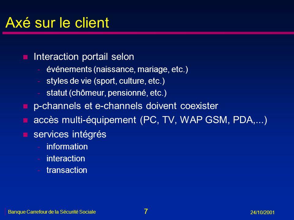 7 Banque Carrefour de la Sécurité Sociale 24/10/2001 Axé sur le client n Interaction portail selon -événements (naissance, mariage, etc.) -styles de v