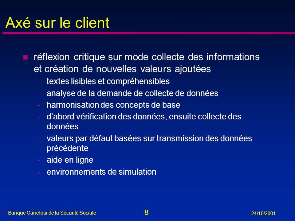 8 Banque Carrefour de la Sécurité Sociale 24/10/2001 Axé sur le client n réflexion critique sur mode collecte des informations et création de nouvelle