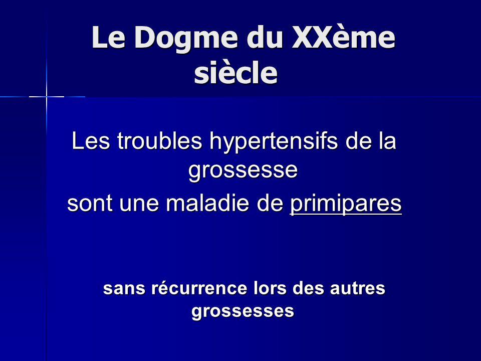 Le Dogme du XXème siècle Le Dogme du XXème siècle Les troubles hypertensifs de la grossesse sont une maladie de primipares sans récurrence lors des au