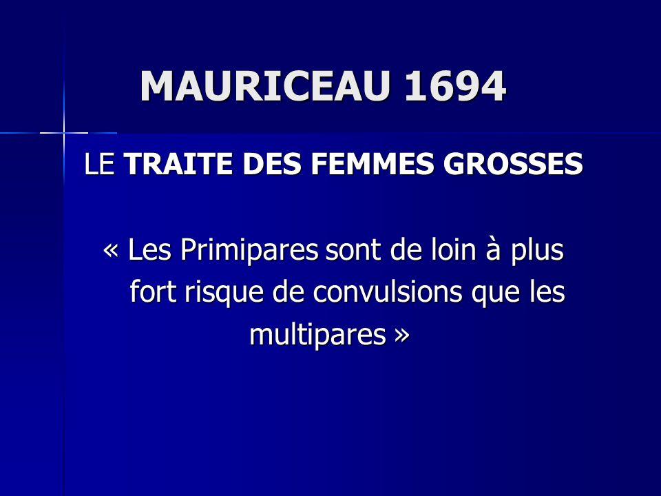 MAURICEAU 1694 MAURICEAU 1694 LE TRAITE DES FEMMES GROSSES LE TRAITE DES FEMMES GROSSES « Les Primipares sont de loin à plus « Les Primipares sont de