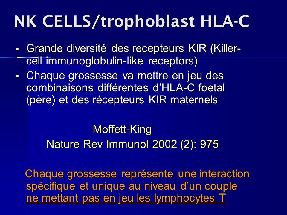 NK CELLS/trophoblast HLA-C Grande diversité des recepteurs KIR (Killer- cell immunoglobulin-like receptors) Grande diversité des recepteurs KIR (Kille
