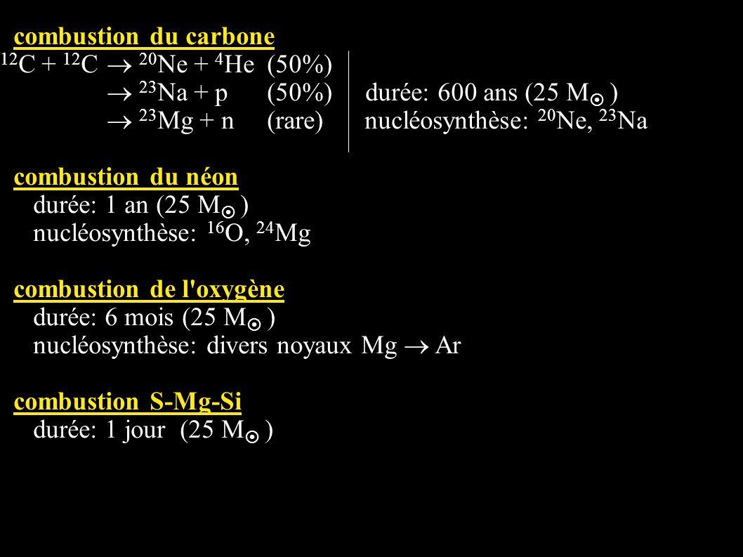 combustion du carbone 12 C + 12 C 20 Ne + 4 He(50%) 23 Na + p(50%) durée: 600 ans (25 M ) 23 Mg + n(rare) nucléosynthèse: 20 Ne, 23 Na combustion du n
