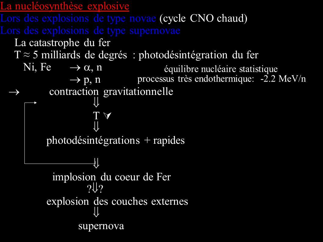 La nucléosynthèse explosive Lors des explosions de type novae (cycle CNO chaud) Lors des explosions de type supernovae La catastrophe du fer T 5 milli