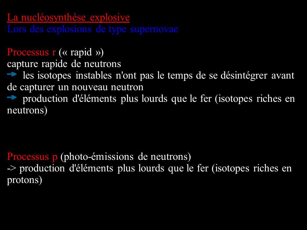 La nucléosynthèse explosive Lors des explosions de type supernovae Processus r (« rapid ») capture rapide de neutrons les isotopes instables n'ont pas