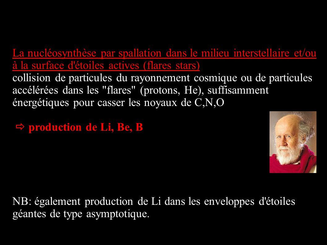 La nucléosynthèse par spallation dans le milieu interstellaire et/ou à la surface d'étoiles actives (flares stars) collision de particules du rayonnem