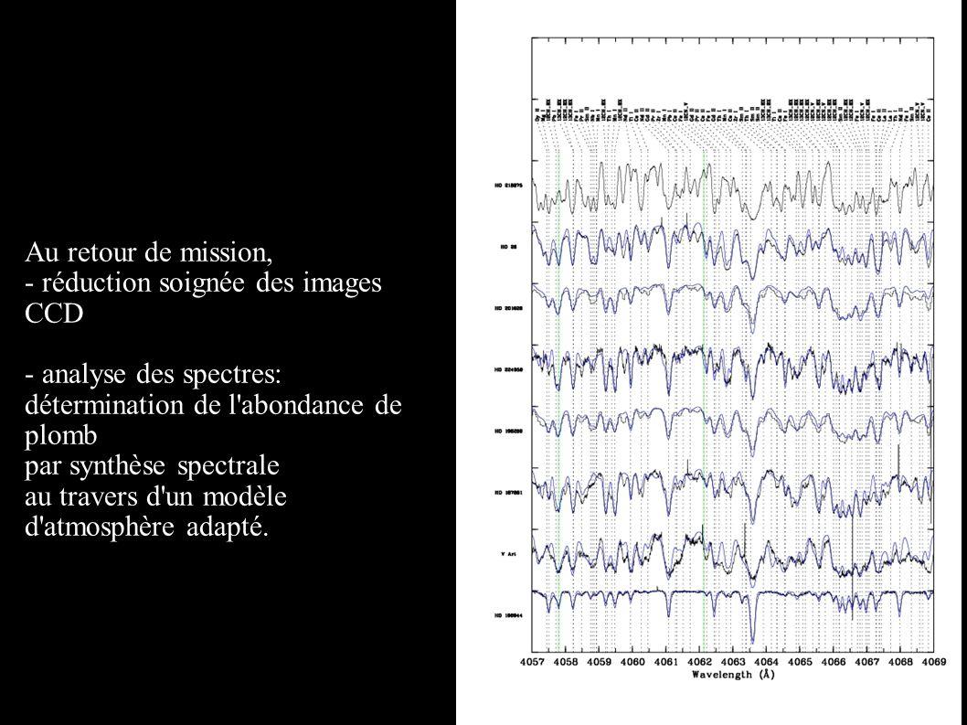 Au retour de mission, - réduction soignée des images CCD - analyse des spectres: détermination de l'abondance de plomb par synthèse spectrale au trave