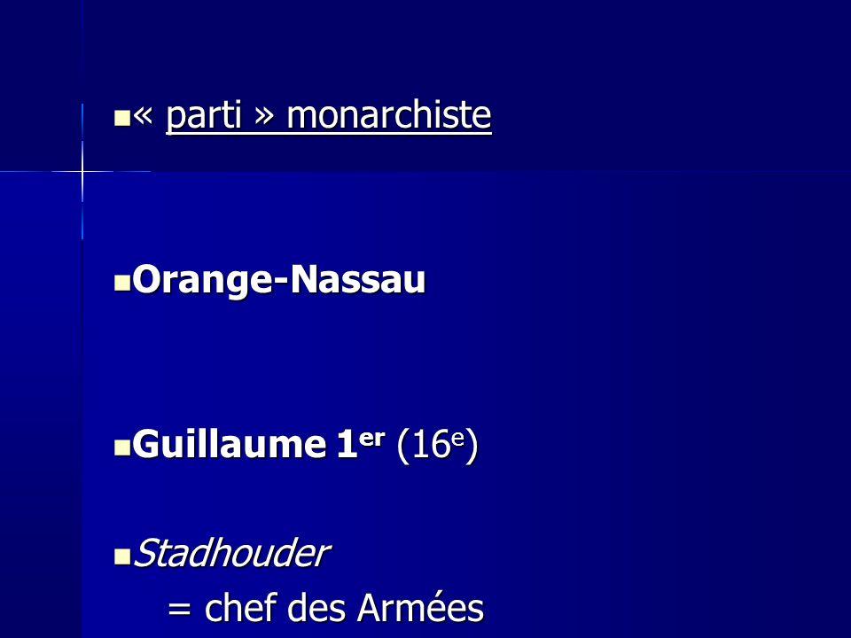 « parti » monarchiste « parti » monarchiste Orange-Nassau Orange-Nassau Guillaume 1 er (16 e ) Guillaume 1 er (16 e ) Stadhouder Stadhouder = chef des Armées