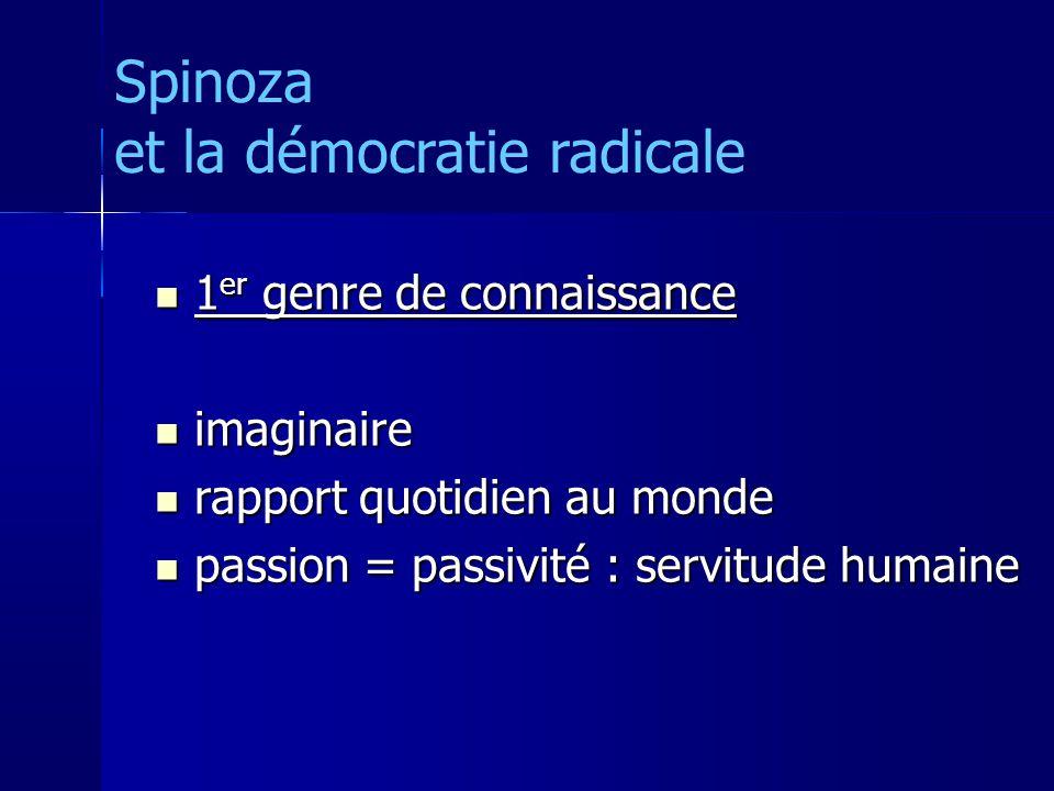 1 er genre de connaissance 1 er genre de connaissance imaginaire imaginaire rapport quotidien au monde rapport quotidien au monde passion = passivité : servitude humaine passion = passivité : servitude humaine Spinoza et la démocratie radicale