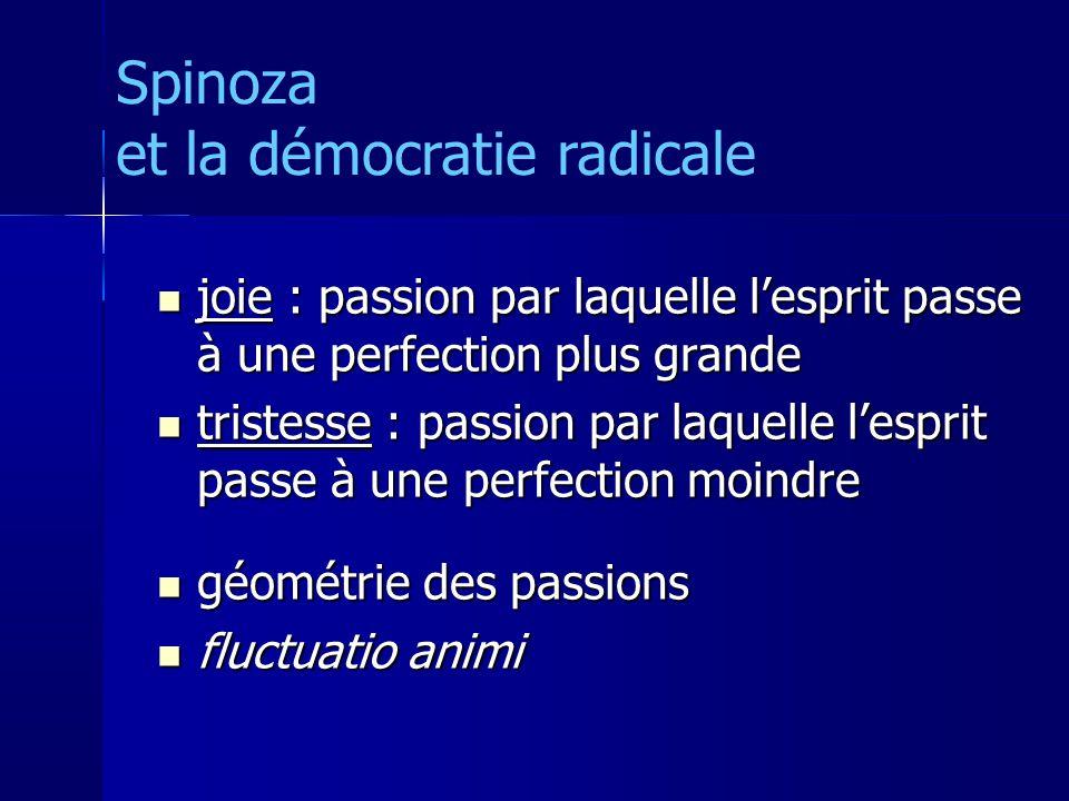 joie : passion par laquelle lesprit passe à une perfection plus grande joie : passion par laquelle lesprit passe à une perfection plus grande tristesse : passion par laquelle lesprit passe à une perfection moindre tristesse : passion par laquelle lesprit passe à une perfection moindre géométrie des passions géométrie des passions fluctuatio animi fluctuatio animi Spinoza et la démocratie radicale