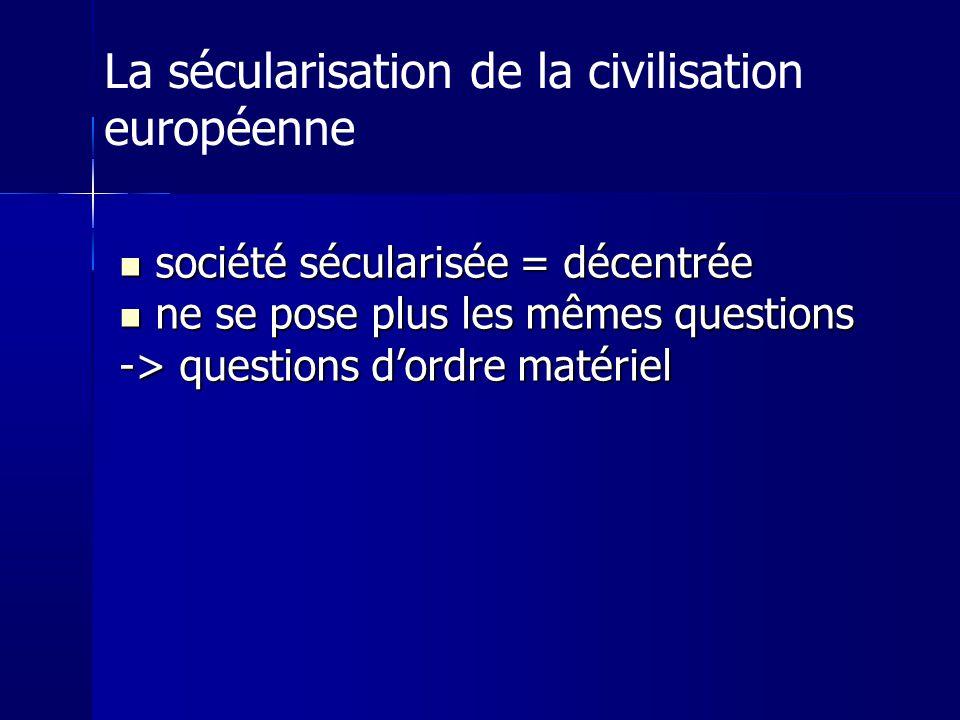 société sécularisée = décentrée société sécularisée = décentrée ne se pose plus les mêmes questions ne se pose plus les mêmes questions -> questions dordre matériel La sécularisation de la civilisation européenne
