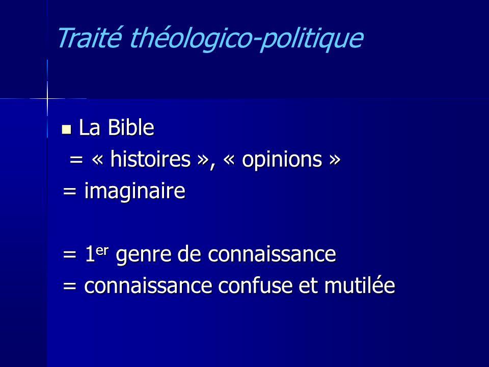 La Bible La Bible = « histoires », « opinions » = « histoires », « opinions » = imaginaire = 1 er genre de connaissance = connaissance confuse et mutilée Traité théologico-politique