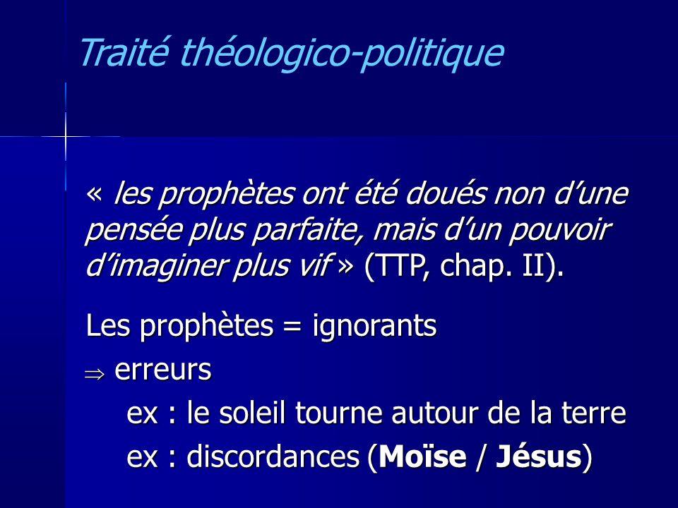 « les prophètes ont été doués non dune pensée plus parfaite, mais dun pouvoir dimaginer plus vif » (TTP, chap.