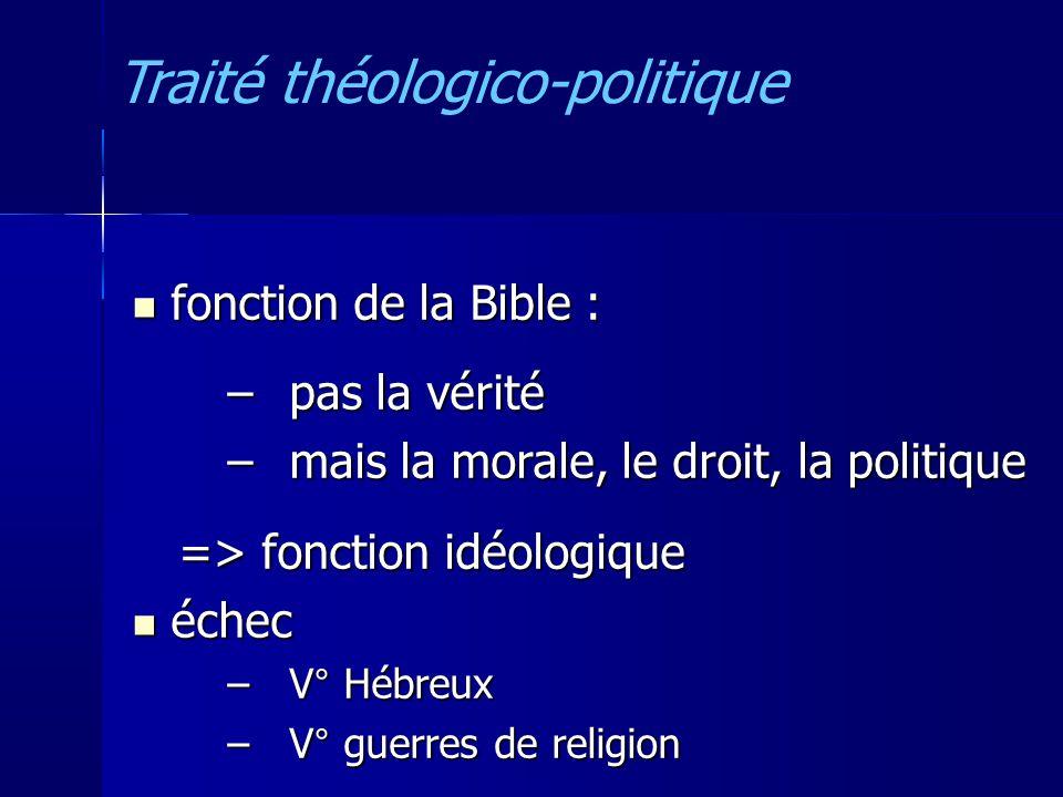 fonction de la Bible : fonction de la Bible : –pas la vérité –mais la morale, le droit, la politique => fonction idéologique => fonction idéologique échec échec –V° Hébreux –V° guerres de religion Traité théologico-politique