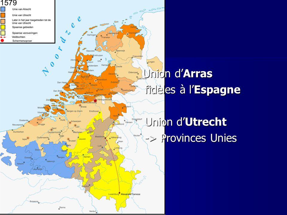 Union dArras Union dArras fidèles à lEspagne fidèles à lEspagne Union dUtrecht Union dUtrecht -> Provinces Unies -> Provinces Unies