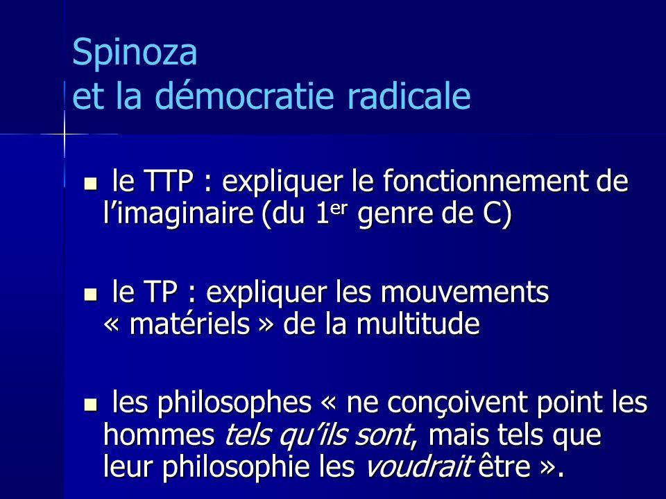 le TTP : expliquer le fonctionnement de limaginaire (du 1 er genre de C) le TTP : expliquer le fonctionnement de limaginaire (du 1 er genre de C) le TP : expliquer les mouvements « matériels » de la multitude le TP : expliquer les mouvements « matériels » de la multitude les philosophes « ne conçoivent point les hommes tels quils sont, mais tels que leur philosophie les voudrait être ».