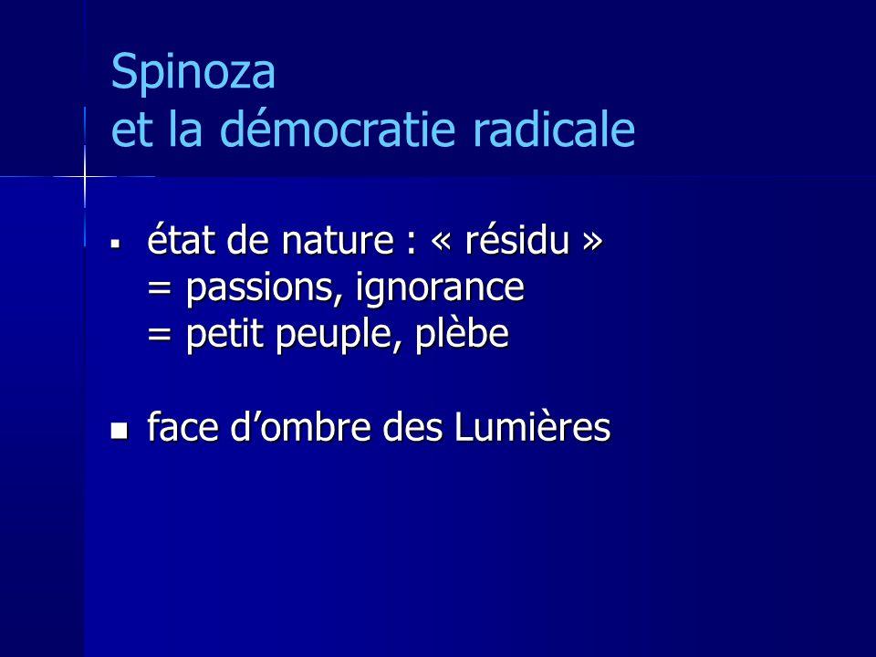 Spinoza et la démocratie radicale état de nature : « résidu » état de nature : « résidu » = passions, ignorance = passions, ignorance = petit peuple, plèbe = petit peuple, plèbe face dombre des Lumières face dombre des Lumières