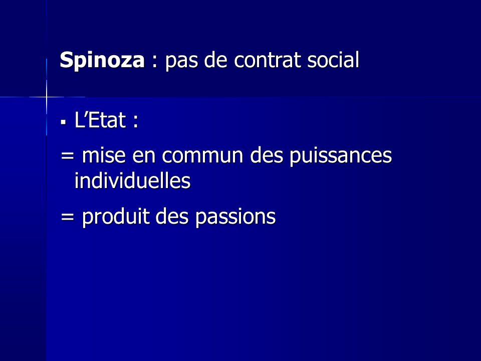 Spinoza : pas de contrat social LEtat : LEtat : = mise en commun des puissances individuelles = produit des passions