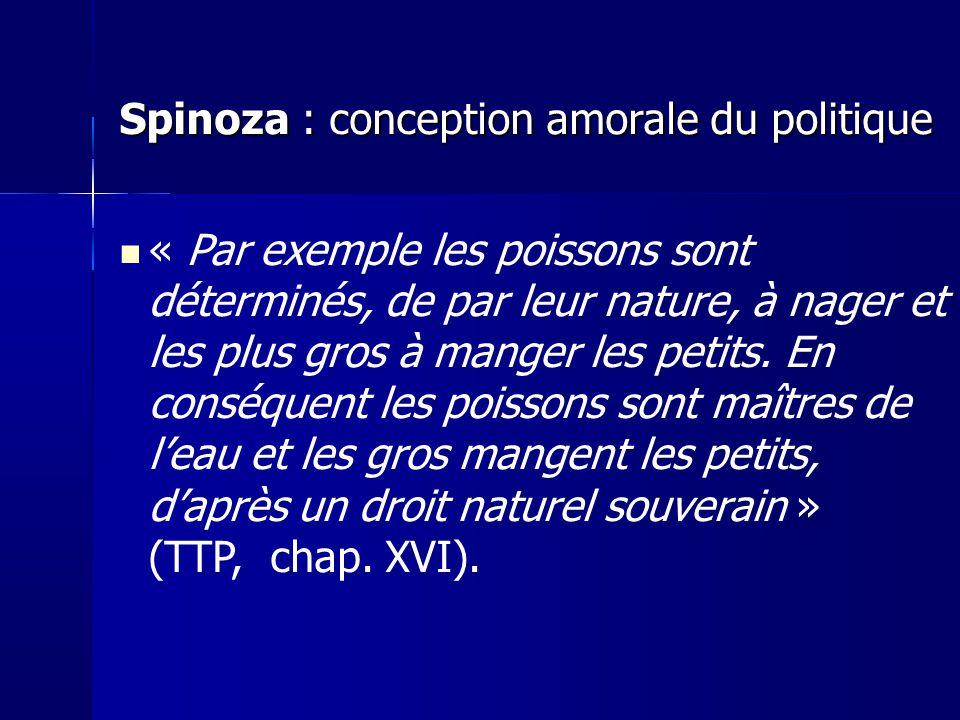 Spinoza : conception amorale du politique « Par exemple les poissons sont déterminés, de par leur nature, à nager et les plus gros à manger les petits.