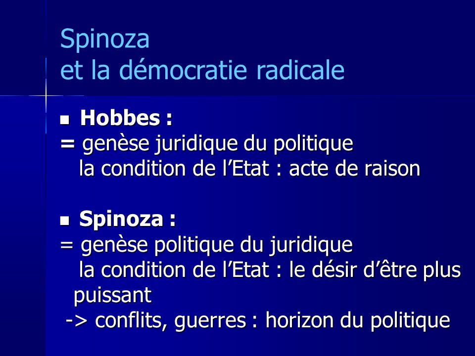 Hobbes : Hobbes : = genèse juridique du politique la condition de lEtat : acte de raison la condition de lEtat : acte de raison Spinoza : Spinoza : = genèse politique du juridique la condition de lEtat : le désir dêtre plus puissant la condition de lEtat : le désir dêtre plus puissant -> conflits, guerres : horizon du politique -> conflits, guerres : horizon du politique Spinoza et la démocratie radicale