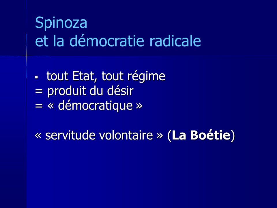 Spinoza et la démocratie radicale tout Etat, tout régime tout Etat, tout régime = produit du désir = « démocratique » « servitude volontaire » (La Boétie)